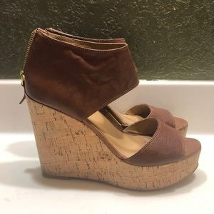 Nine West wedges size 8 tan